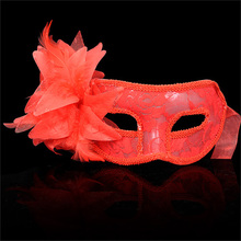 NHBR Venetian Party Eye Mask Feather Lace Flower Masquerade Ball Carnival Fancy Dress (red)(China)