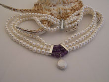 Topearl Jewelry Three Strands White FW Pearl & Purple Amethyst Bridal Necklace Wedding Jewelry TB043