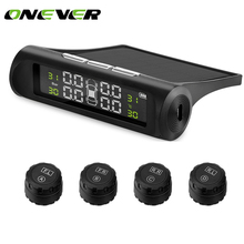 Solar Power TPMS Car Tire Pressure Alarm Monitor System Wireless LCD Display Car 4 External Sensor Temperature Alarm(China)