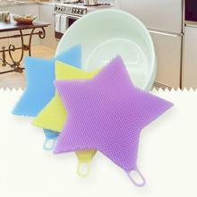 Hot Sales Five-pointed Star Shape Silicone Dish Wash Sponge Scrubber Cleaning Brush Kitchen Tools(China)