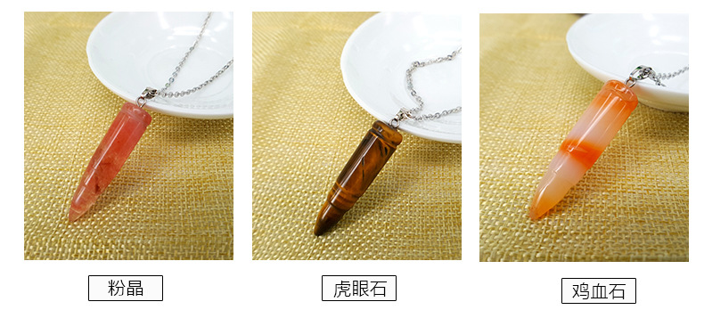 Character Bullet Natural Stone Pendant Clavicle Chain Necklace National Fashion Jewelry Men's and Women's Clothing Accessories