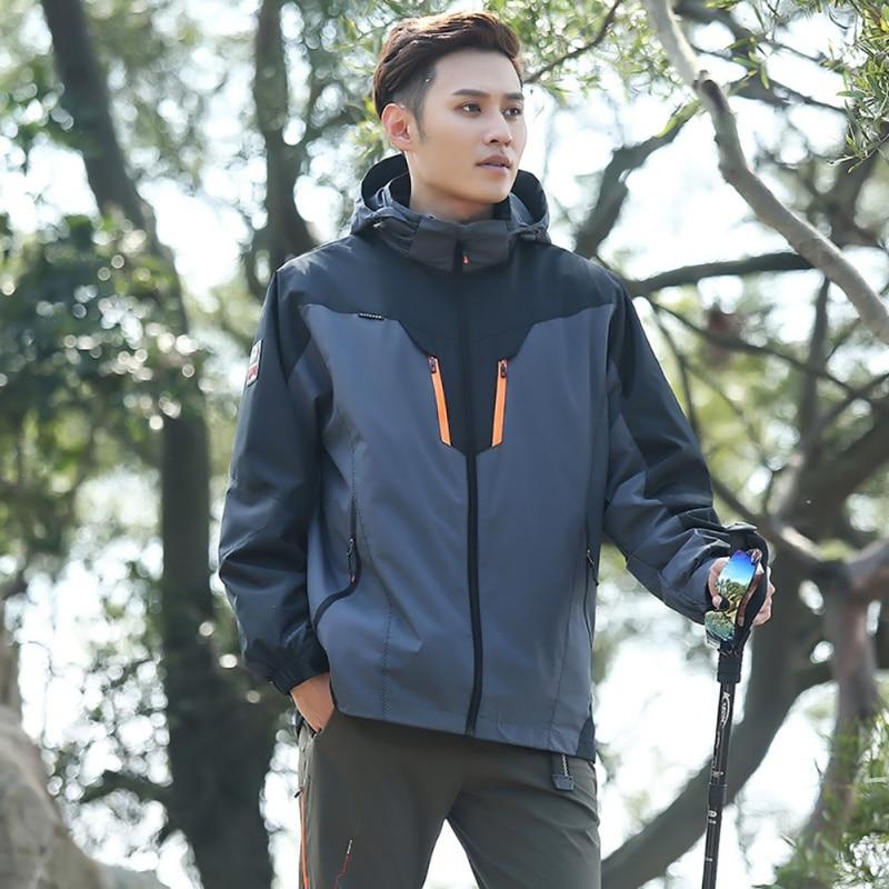 Men Women Windproof Climbing Hiking Jacket Winter 3 in 1 Outdoor Soft Shell Jacket Waterproof  Coats Outdoor Hooded<br>