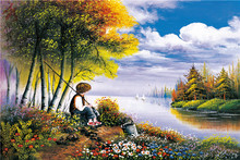 60x40cm Boy go fishing Landscape Unframed Beautiful scenery Canvas Painting Blue Sky Long River Modular Picture Room Wall Decor
