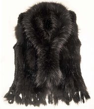FREE SHIPPING* RABBIT  KNITTED FUR VEST WITH BIG RACCOON FUR TIMMING* MIXED ORDER*WHOLE SALE & RETAIL* BE1201