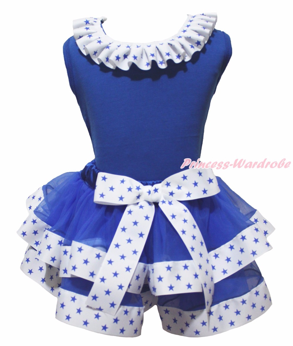 I Love 4th July USA Heart Sailor Anchor Blue Top Stars White Ribbon Trim Skirt Girls NB-8Y<br>