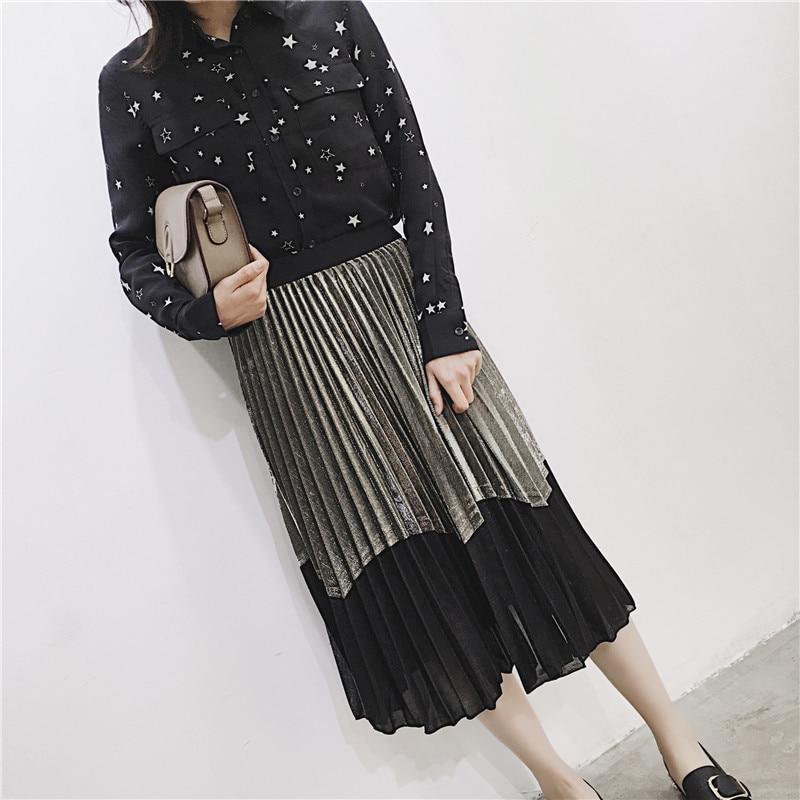 [GUTU] Autumn Summer 2018 Korean New Fashion Patchwork Color Bottoms All-match Elastic Waist Pleated Skirt Loose Women F89201 22