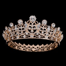 Hot European Silver Golden Royal Crowns Sunburst Queen Chic Regal Show Full Round rhinestones Wedding tiaras and crowns