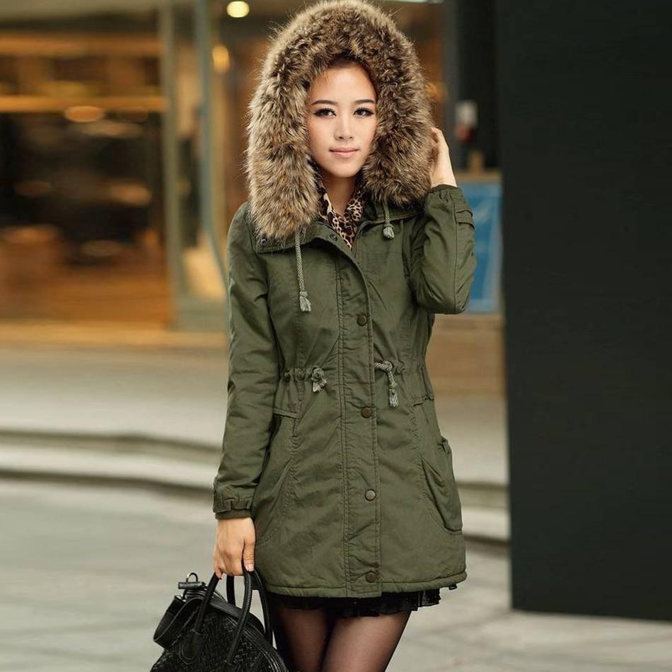 2017 New Autumn Winter Women Loose Coats Wadded Hooded Jacket Long Casual Parkas Coat Quilt Outwear Women Coat Army Green KhakiÎäåæäà è àêñåññóàðû<br><br>