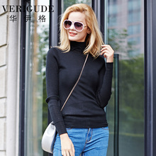 Veri Gude Women's Wool Turtleneck Sweater Women Knitted Pullover One Size Plain Color(China)