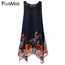 Plus Size 5XL Vintage Floral Print Boho Beach Chiffon Dress Women Summer 2017 Sexy Sleeveless Loose Tank Oversized - PlusMiss Senior Store store