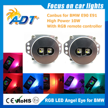 free shipping for BMW E90/E91 20W Canbus LED Cr RGB Angel Eye Halo Light by Blue tooth Error Free car LED Headlight Marker