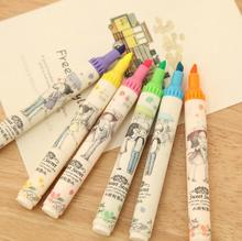 6pcs/lot Popular Sweet Secret Oblique Highlighters Marker Lovely Marker Pen Korean Stationery School Supplies Free Shipping