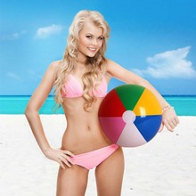 40cm Outdoor Fun Toys Ball Inflatable Colorful Beach Ball Inflated Plastic Ball for Children Swimming Pool Game Props Water Toys