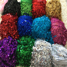 10Yds/Lot High Density 16CM Long Sequin Embroidered Tassel Fringe Trim African Lace Sew Dance Dress Accessory Gold Silver Red