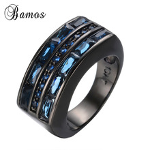 Size 8/9/10/11/12 Black Gold Filled CZ Finger Rings For Female Male Vintage Blue Wedding Rings Promotion RB0500