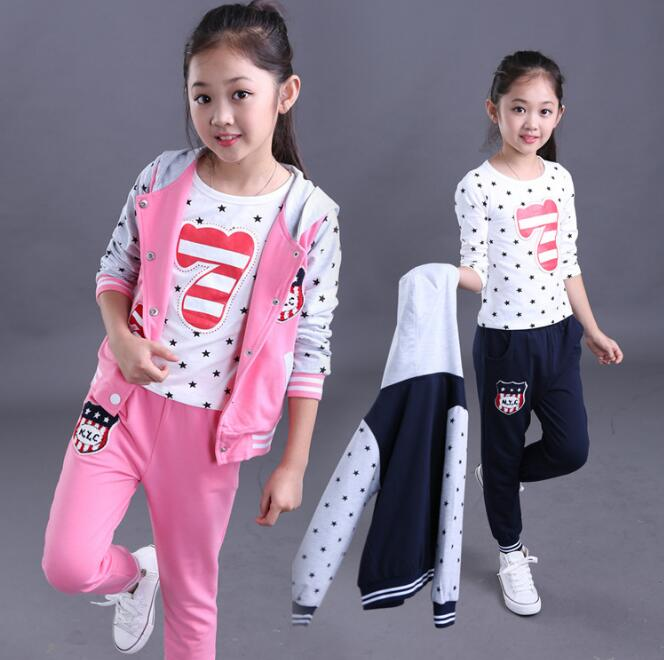Fall Three-piece Clothing For Girls Fresh Print Conjunto Infantil Menina Kids Cotton Veiled Button Active Coat And Pants Sets<br>