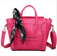 MISS LULU 2016 New fashion Women Ladies Celebrity High Quality Leather Smile Face SKull Scarf Handbag Shoulder Tote Hand Bag