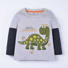 Spring Boys Long Sleeve T-shirts Cartoon Dinosaur Kids Sweatshirt Child Clothes Casual European Style Base Shirts 1-6 Years(China)