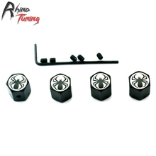 Rhino Tuning 4Pcs Spider Logo Auto Car Wheel Tyre Valve Caps Metal Fit for All Car Auto Tire Valve Dust Caps 075(China)