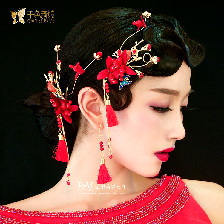 chinese style red butterfly fringed tassle head flower barrette wedding hair accessories