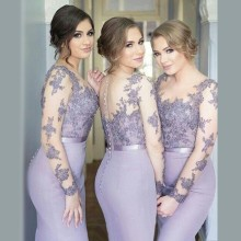 Lavender Fashion High Collar Lace Appliques Long Sleeve Mermaid Bridesmaid Dresses Backless Wedding Dress Evening Dress 2017