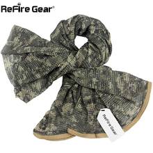 ReFire Gear Arab Military Tactical Mesh Scarf Men US Army Soldiers Combat Camouflage Scarves Conceal Camo Shawl Veil Scarf 190cm