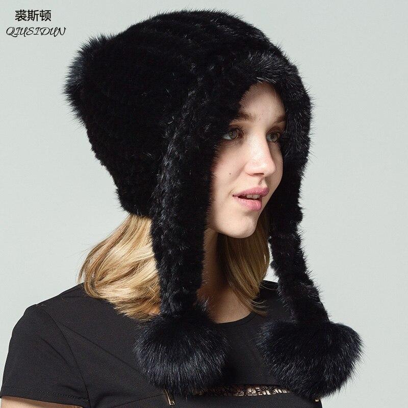 QIUSIDUN brand Natural fur mink hat Genuine factory outlets Fashionable with a fox ball Ear cap Winter Russian women Warm hats  Îäåæäà è àêñåññóàðû<br><br>