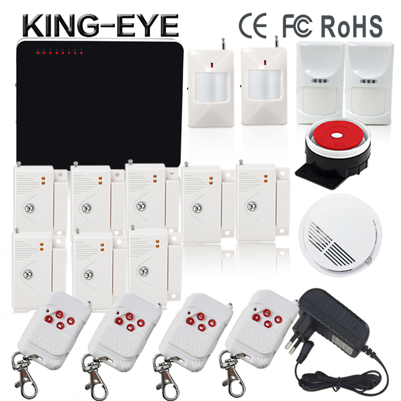 433 mhz wireless quadband gsm alarm systems security kit with PIR detector smoke detector door security anti theft home alarm(China (Mainland))