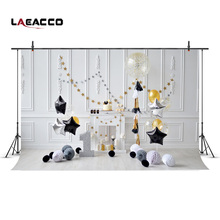 Laeacco Chic Wall Black Star Balloons Number 1st Birthday Baby Photography Backdrops Vinyl Custom Backgrounds For Photo Studio(China)