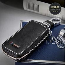 Luxury Car Key ring Black leather key wallet For Acura Infiniti Audi Ford BMW Chevrolet Nissan Citroen Buick Cadillac Lexus Key(China)