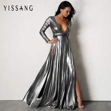 Buy Yissang New Arrival Deep V Neck Sexy Dress 2018 Women Sexy Solid Long Sleeve Maxi Dresses High Split Club Party Dress for $22.25 in AliExpress store