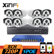 XINFI 8CH POE CCTV System HDMI NVR Recorder 9 ports POE switch 720P HD Home Surveillance 1.0MP poe Camera System CCTV kit