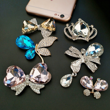 Crystal Butterfly Big Rhinestone Diamond DIY pink Plated Craft Cell Phone Case Alloy Metal Material Accessories