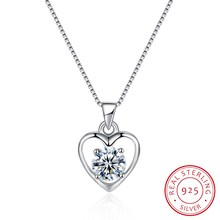 925 Sterling Silver Fine Jewelry Pendant Necklace Heart Love Collar Women Female Wedding Party Gift 18inch Ribbon Jewels N0014