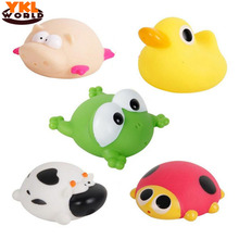 YKLWorld Bath Toy in the Bathroom Baby Toy for Children Water Spray Animal Soft Rubber Toy Duck Green Frog Boy Girl Safe Toy -40(China)