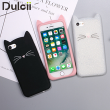Case For iPhone 6 6s 6 Plus 7 7plus 5 5s SE Soft Silicone 3D Moustache Cat Phone Back Case Cover For iPhone 7 Lovely Capa Coque