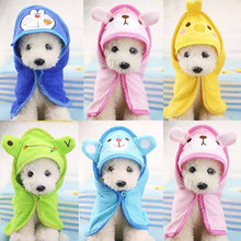 D58 New Cartoon Pet Dog Bath Towel Funny Dog Blanket for Dogs Cats Super Absorbent Puppy Dog Cats Bathrobe Suit for Yorkie(China)