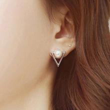2017 Fashion Ear Jewelry Studs Earrings Cute Triangle Pearl Earrings Broncos For Women Gold Perle Boucles D'oreilles Femmes(China)