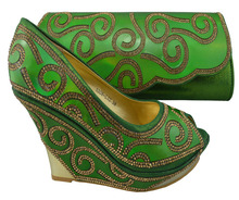Italian African Shoe And Bag Set For Party In Women Green Heel 10 CM Elegant Stones Matching Shoes And Clutch Bags 1308-L32(China)