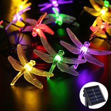 6M 30 Led Dragonfly Outdoor Lighting RGB Solar Light Led Christmas String Fairy Lights For Home And Garden Waterproof Led Sensor(China)