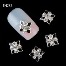 10 pcs/lot 3D Black White Charm Nail Decorations Glitter Alloy Jewelry Rhinestones DIY Nail Art Studs Tools TN232