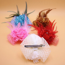 Flower Feather Hair Clip Fascinator Party Headdress Feather Flower Flower Dotted Mesh Hair Clip Hair Accessories For Girls