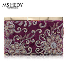 MS HEDY New Trend Bridal Wedding Satin Evening Bags Lace Floral Day Pouch clutch women Purse Party(China)