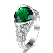 Green Rhinestone Women Ring Jewelry Trendy Cocktail Party Finger Ring Bijoux Wedding Anniversary Ornaments Rings Gifts Handmade(China)