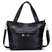 New Genuine Leather Black Tote Bags True Skin Large Handbag Women's Michaeled Authentic Handbags Bolsa Bag for Women Female Bags(China)