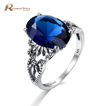 Women Engagement Art Deco Dark Blue Stone 925 Sterling Silver Crystal Ring For Gift Party Wedding September Birthstone Ring