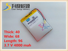 3.7V 4000mAh lithium polymer battery for 7inch Q88 android tablet PC window via 8650 8850 allwinner A13 A10(China)