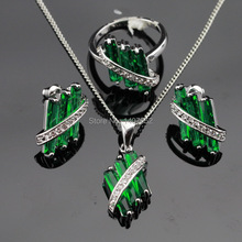 ASHLEY Christmas Silver Color Jewelry Sets Women Green Created Emerald  Necklace Pendant Earrings Rings Christmas Free Gift Box