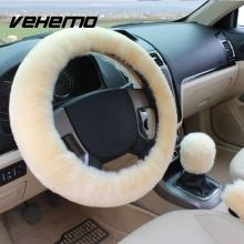 3pcs/Sets Wool Plush Car Steering Covers +Spring Fur Handle Sleeves/Hand Brake Cover+Stop Lever Cover Winter Warmer Car-styling