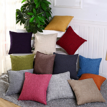 45*45cm Vintage Plain Pillow Cover Decorative Cotton Linen Throw Pillow Cases Home Comfortable Solid Color Pillowcase(China)